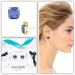 Kate Spade Glitter Square Stud Earrings Blue
